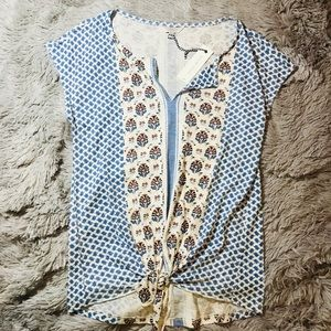 🍀{Lucky Brand} Linen Patterned Tie Tank Top🍀